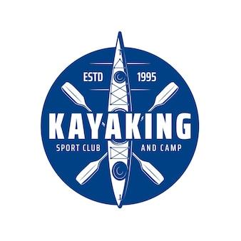 Kajakken sportclub icoon met kajak boot of kano peddel roeien, vector. kajakclub en kamp, rivier of meer en zeeraften sportactiviteit en extreem avontuur, blauw embleem