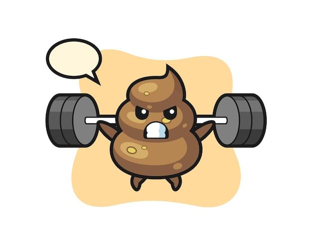 Kak mascotte cartoon met een barbell, schattig stijlontwerp voor t-shirt, sticker, logo-element