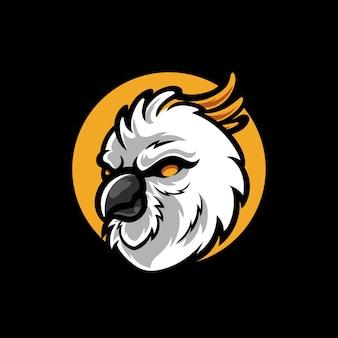 Kaketoe hoofd mascotte logo ontwerp
