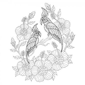 Kaketoe met bloem. hand getrokken schets illustratie voor volwassen kleurboek.