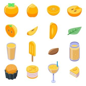 Kaki iconen set, isometrische stijl