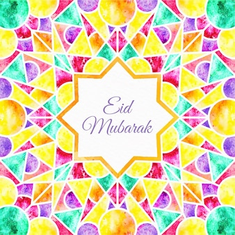 Kaleidoscop effect aquarel eid mubarak