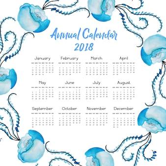 Kalender 2018 met aquarelbloemen