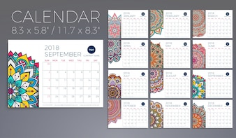 Kalender 2018. Vintage decoratieve elementen. Oosters patroon, vectorillustratie.
