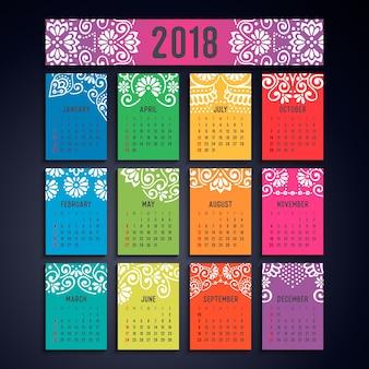 Kalender 2018. vintage decoratieve elementen. oosterse patroon, vectorillustratie.