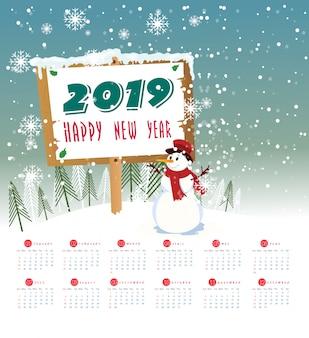 Kalender 2019 en gelukkig nieuwjaar achtergrond