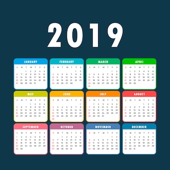 Kalender 2019. kleurrijke set. week begint op zondag. basisrooster