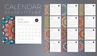 Kalender 2019 met mandala's