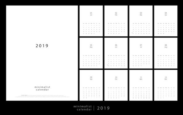 Kalender 2019 trendy minimalistische stijl