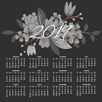 Kalender 2019 vector ontwerpsjabloon van lentebloemen.