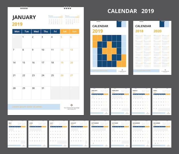Kalender 2019 voor sjabloonontwerp begint de week op maandag.