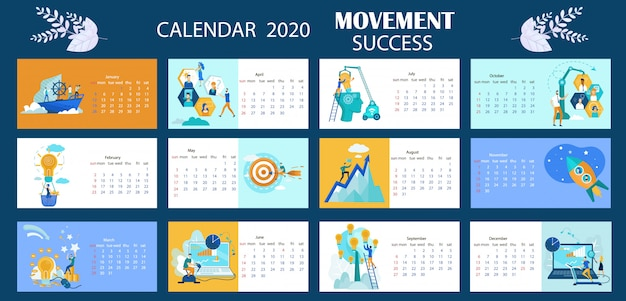 Kalender 2020 beweging succes belettering cartoon.