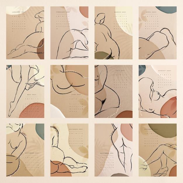 Kalender 2021 afdrukbare sjabloon vector maandelijkse set abstracte vrouwelijke achtergrond