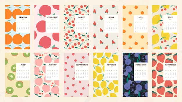 Kalender 2021 afdrukbare vectorsjabloon met schattige fruitachtergrondset