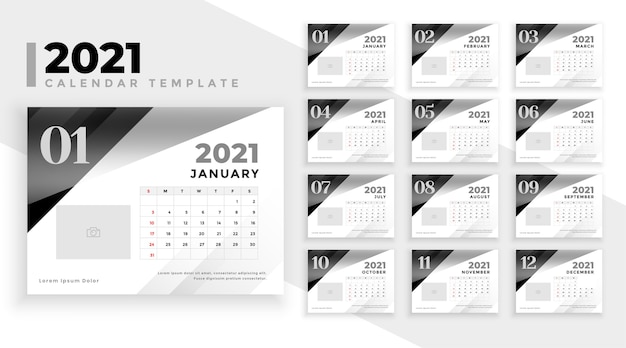 Kalender 2021 in zwart-wit