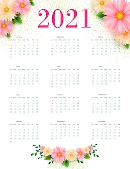 Kalender 2021 met bloemmotieven. sjabloon..