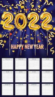 Kalender 2022 gouden ballonnen 3d cijfers confetti folie 12 maanden week begint op zondag