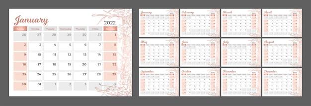 Kalender 2022 horizontale kalender in een romantische stijl met handgetekende narcissen in rosé gouden kleur