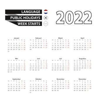 Kalender 2022 in de nederlandse taal, week begint op maandag.