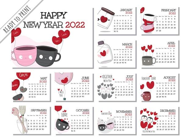 Kalender 2022 met platte cartoon dieren illustratie illustratie schattig dier met 12 maanden cal