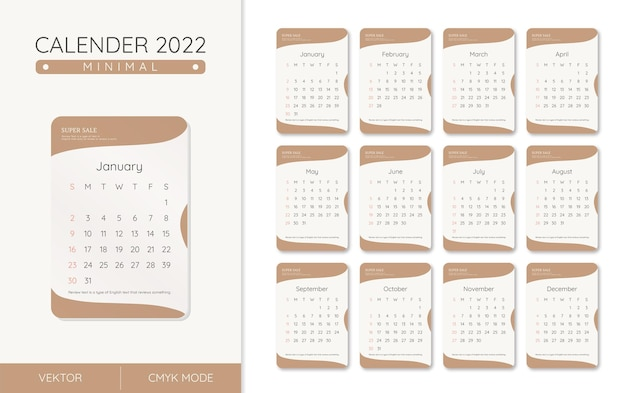 Kalender 2022 minimalistische stijl