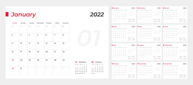 Kalender 2022 planning weeksjabloon
