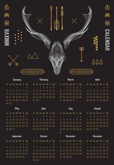 Kalender 2022 schattige dieren rendieren vector illustratie
