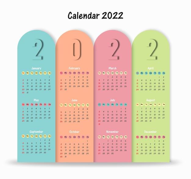 Kalender 2022 sjabloon eenvoudig ontwerp