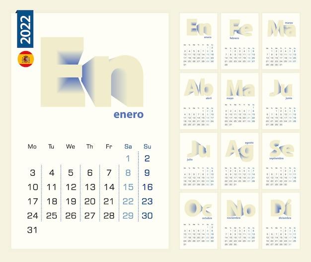 Kalender 2022 sjabloon in de spaanse taal, minimalistische kalender ingesteld voor 2022 jaar.