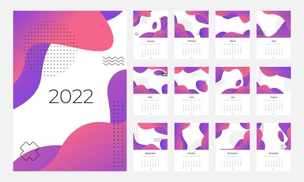 Kalender 2022 sjabloon vector set bureaukalender 2022 wandkalender ontwerp planner