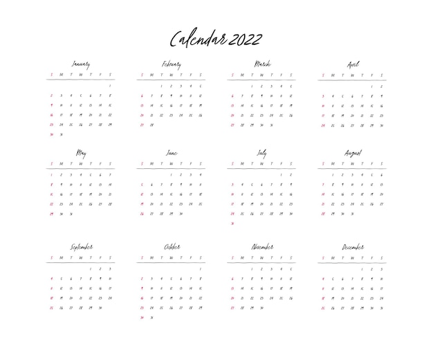 Kalender 2022 sjabloon