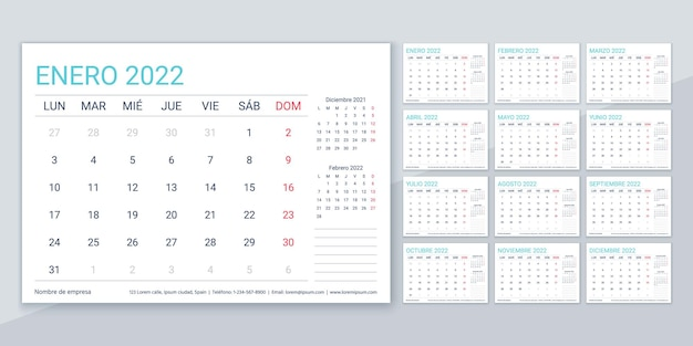 Kalender 2022. spaanse planner sjabloon. week begint maandag. vector. kalenderlay-out met 12 maanden. tabel schema raster. jaarlijks briefpapier organisator. horizontale maandagenda. eenvoudige illustratie.