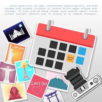 Kalender en camera fotoalbum met reiselementen.