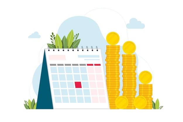 Kalender en een heleboel munten. hoofdlettergebruik van een bedrijfswebbanner of bestemmingspagina. taxatie van bedrijfsaandelen vermenigvuldigd met de marktprijs voor die aandelen. geïsoleerde platte vectorillustratie.