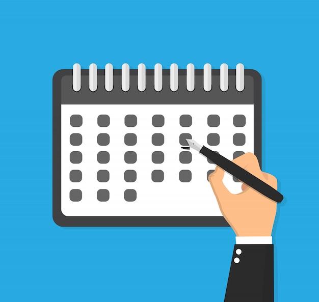 Kalender en hand die één dag op het markeren vlakke illustratie