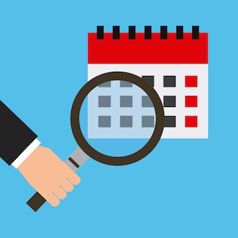 Kalender en hand met een vergrootglaspictogram
