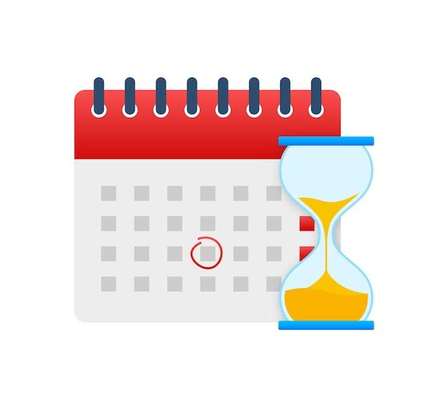 Kalender en klokpictogram. muur kalender. belangrijk, planning, afspraakdatum. vector stock illustratie