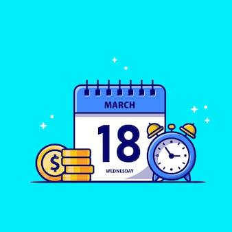 Kalender, gouden munt en klok cartoon pictogram illustratie. zakelijke financiën pictogram concept geïsoleerd. platte cartoon stijl