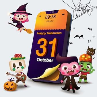 Kalender halloween day op mobiele telefoon