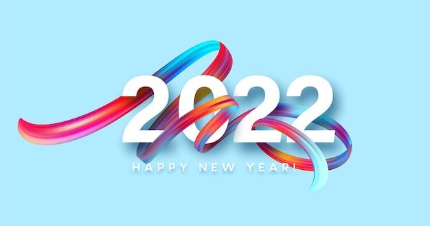 Kalender header 2022 nummer op kleurrijke abstracte kleur verf penseelstreken achtergrond. gelukkig 2022 nieuwjaar kleurrijke achtergrond. vectorillustratie eps10