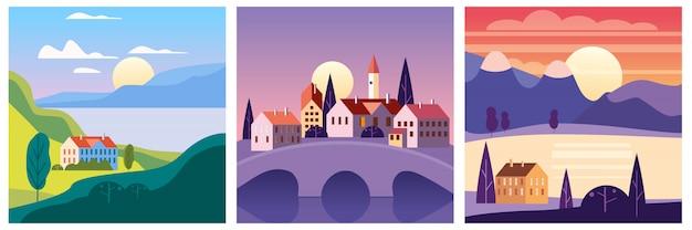 Kalender ingesteld landschap zomer in vlakke minimale eenvoudige stijl