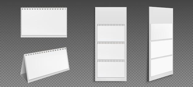 Kalender met blanco pagina's en bindmiddel. voor- en zijaanzicht van desktop- en behangkalender. agenda, almanak sjabloon geïsoleerd op transparante achtergrond. realistische 3d-afbeelding, set