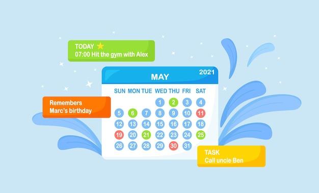 Kalender met het vullen van zakelijke bijeenkomsten en evenementen. schema voor dagplanning