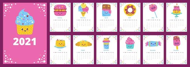 Kalender met illustraties van desserts