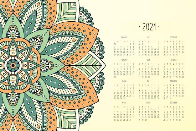 Kalender met mandala's donkere stijl ornament