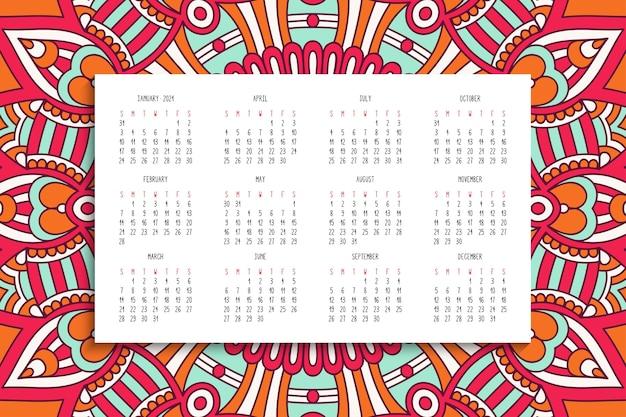 Kalender met mandala's ornament