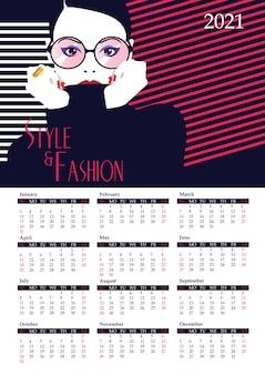 Kalender met mode vrouw in pop-art stijl.