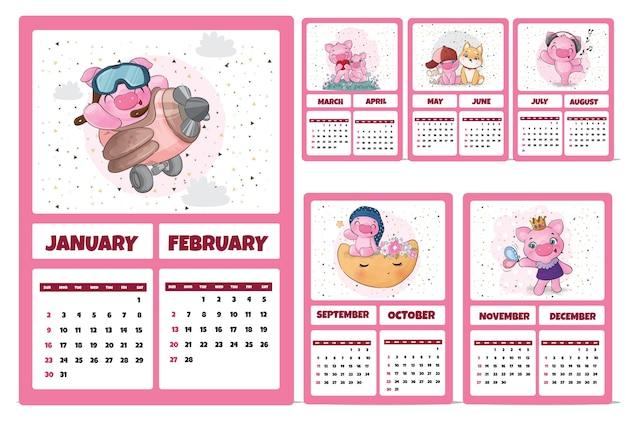 Kalender met schattige dierenkarakters voor 2022 illustratiekalender 2022