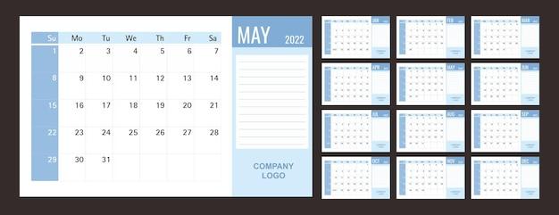 Kalender of planner 2022 sjabloon 12 maanden met blauw thema