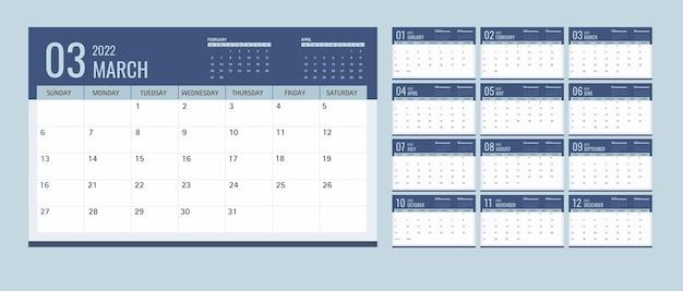 Kalender of planner 2022 sjabloon 12 maanden met donkerblauwe achtergrond